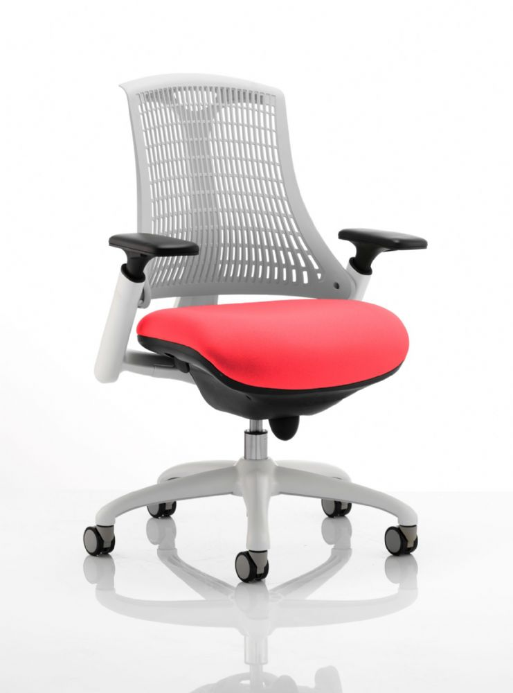 Flex Large Cushioned Seat Task Chair White Frame White Backrest Various Colour Seat Options Adj Arms